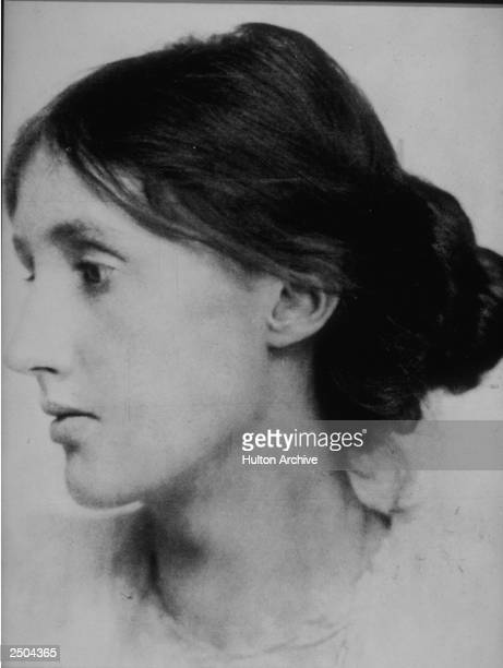 A profile headshot portrait of British author Virginia Woolf circa 1915