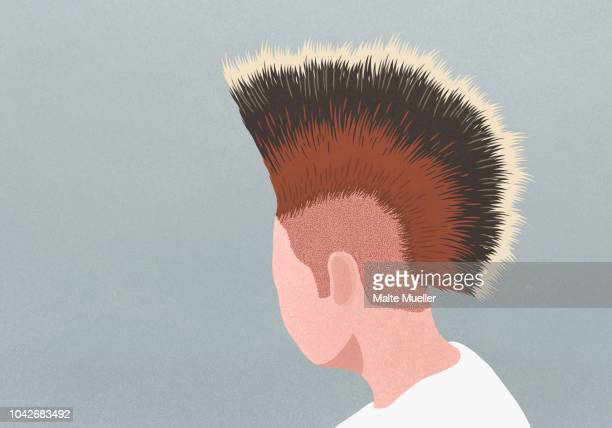 profile man with mohawk - mohawk stock photos and pictures
