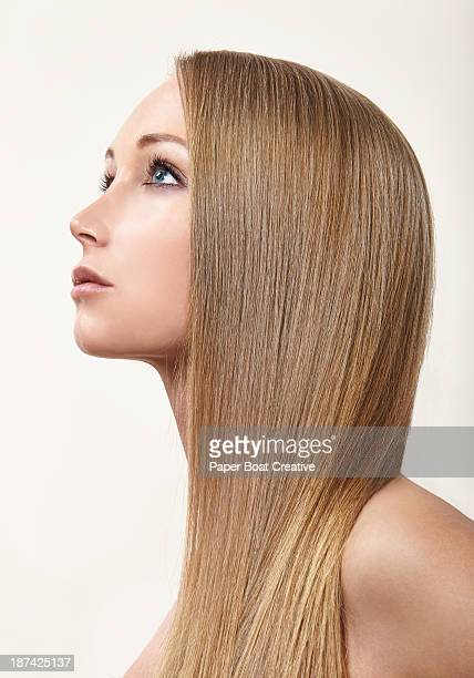 Profile of a beautiful lady with straight hair