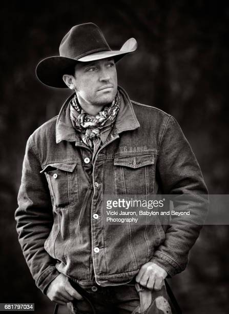 Profile of a Cowboy in Jeans Jacket