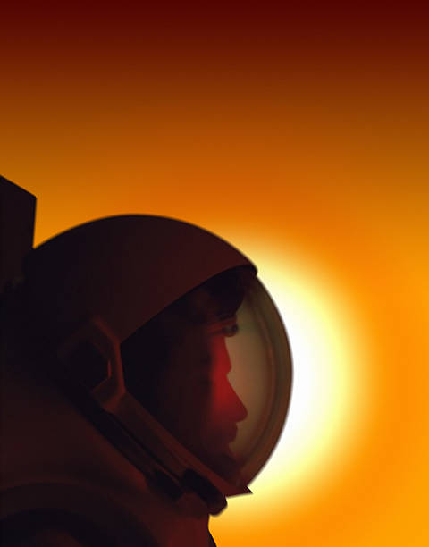 Profile of a Helmeted Astronaut Against the Sun