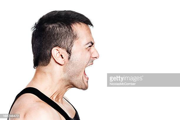 profile of a man shouting with all his might - shouting stock photos and pictures