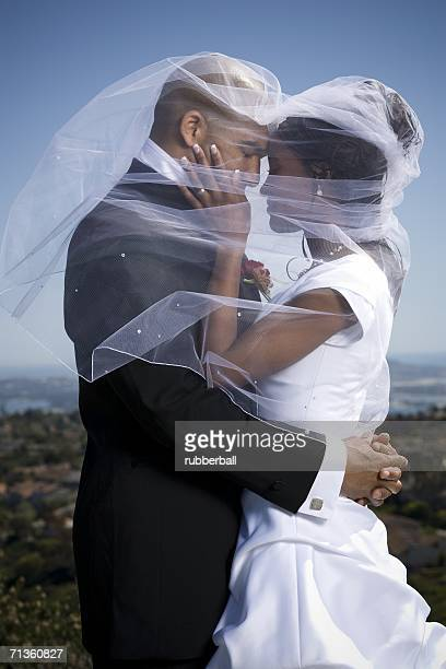 Profile of a newlywed couple under a veil