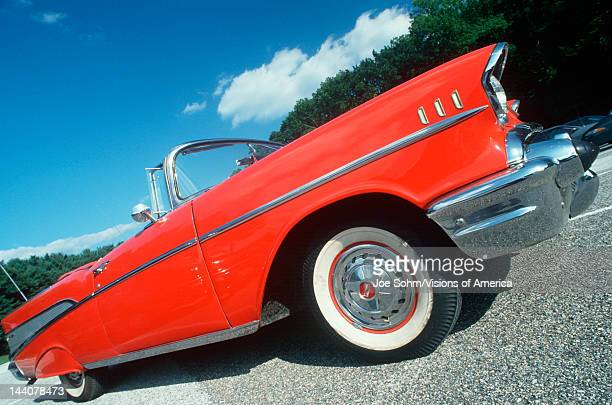 Profile of a red 1957 Chevy convertible in Delaware