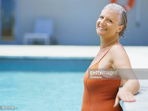 Profile of a senior woman standing in swimming pool
