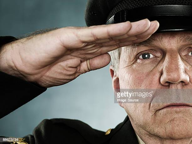 Profile of a soldier saluting