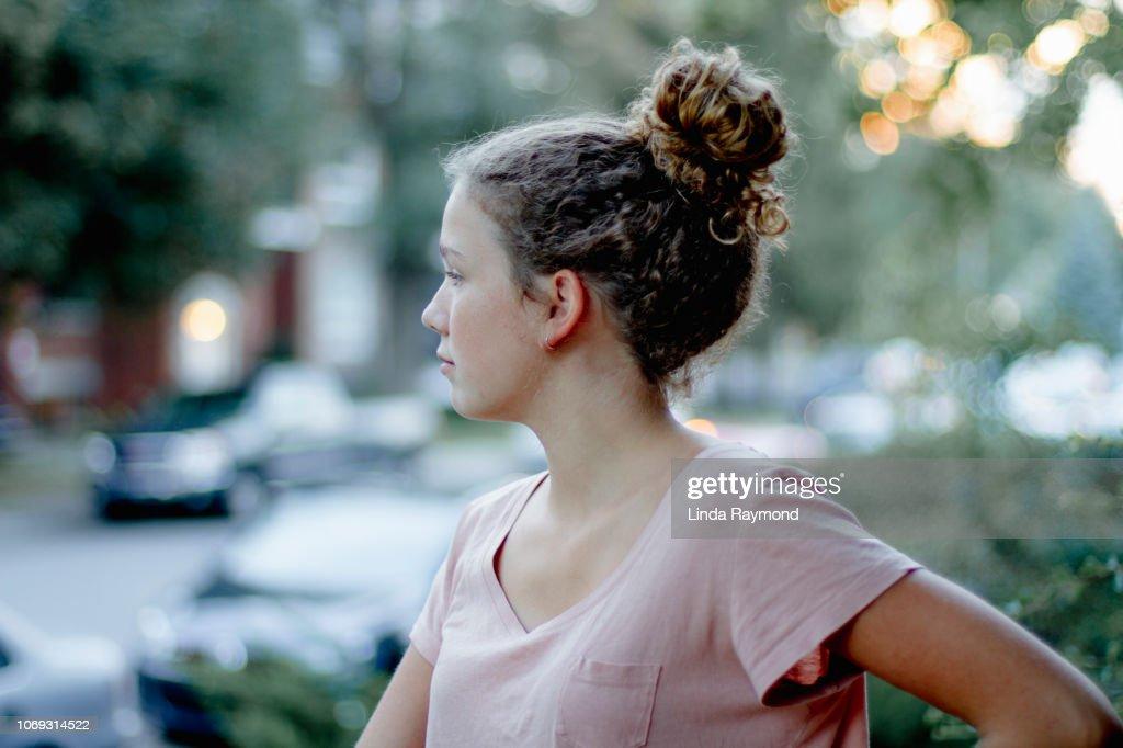 Profile of a teenage girl : Stock Photo