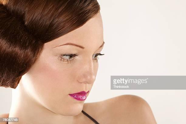 profile of a woman - parte del cuerpo animal fotografías e imágenes de stock