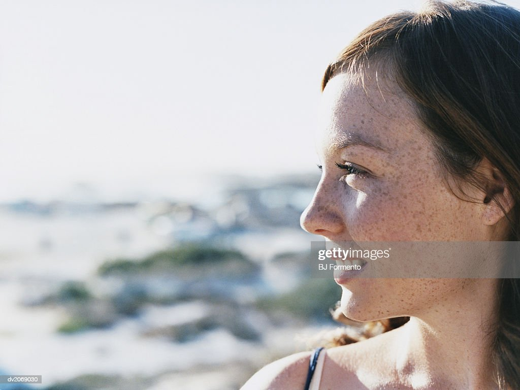 Profile of a Woman Smiling : Stock Photo