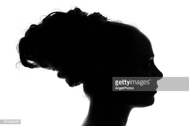 perfil de uma mulher jovem - silhueta de corpo feminino preto e branco imagens e fotografias de stock