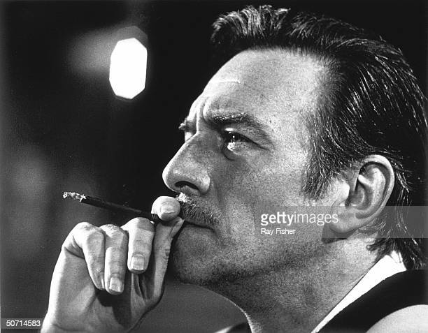 Profile of actor Christopher Plummer smoking a thin cigar while being interviewed during the time that he was appearing in Othello