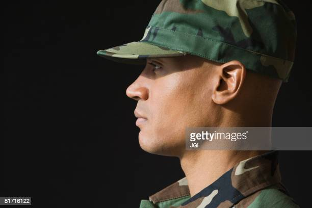 Profile of African male soldier