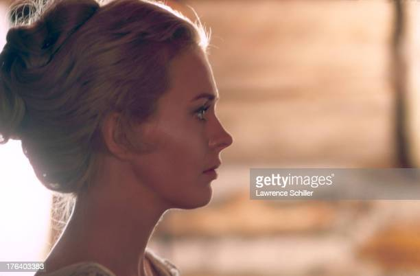 Profile of American actress Jean Seberg in the film 'Paint Your Wagon' Oregon 1970