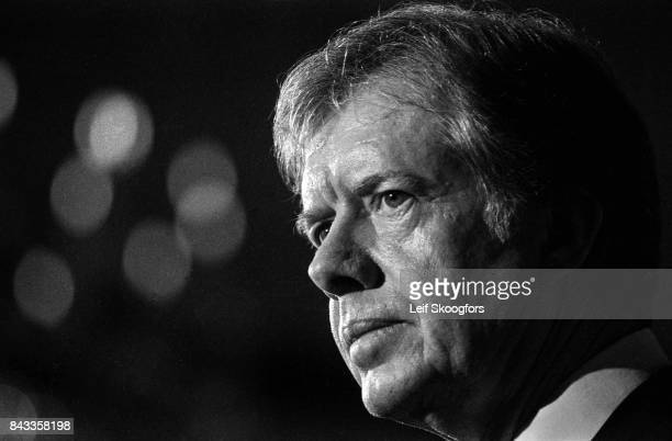 Profile of American politician US President Jimmy Carter as he speaks during an unspecified event Washington DC January 20 1980 As part of the speech...