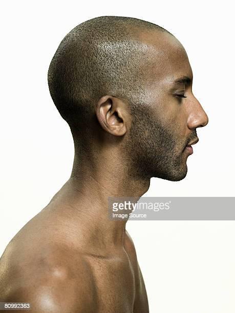 profile of an african american man - naakte man en profiel stockfoto's en -beelden