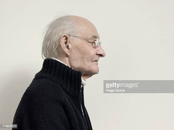 Profile of an elderly man