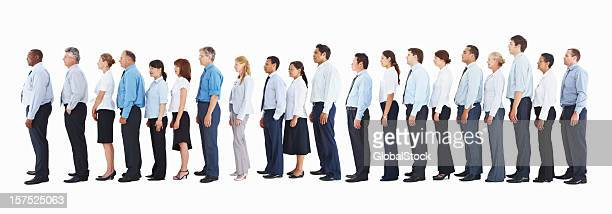 Profile of business people standing in a line on white