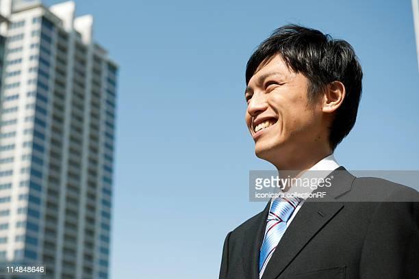 Profile of businessman, Tokyo Prefecture, Honshu, Japan