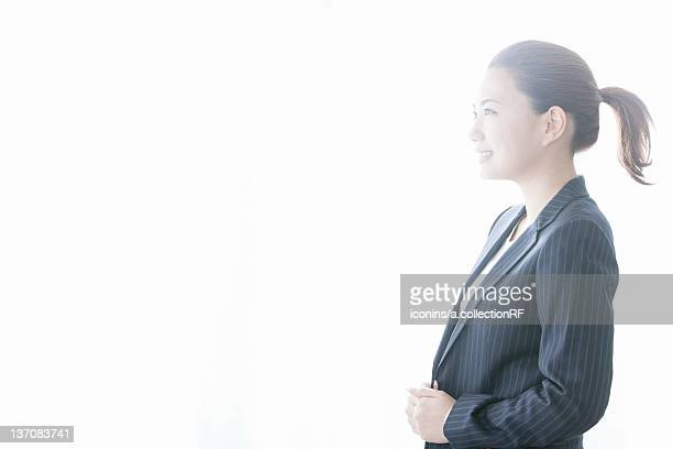 Profile of businesswoman, Tokyo Prefecture, Honshu, Japan