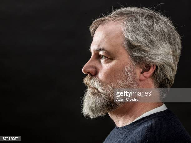 Profile of Caucasian man with beard