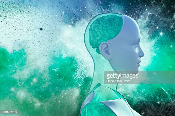 Profile of cyborg with green brain