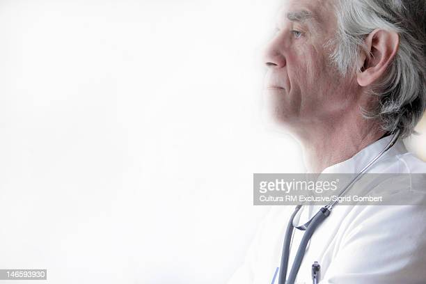 profile of doctor wearing stethoscope - sigrid gombert imagens e fotografias de stock