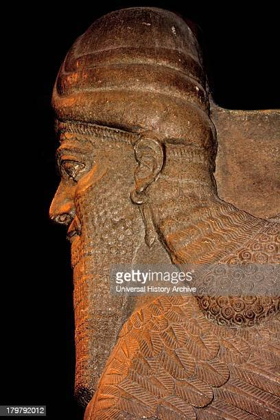 Profile of Humanheaded winged bull statue Assyrian Taken from Khorsabad A protective spirit statue used to guard palace doorways