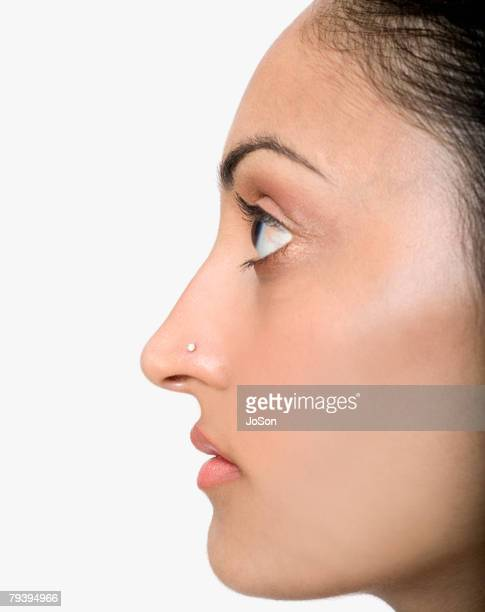 Profile of Indian woman with nose ring