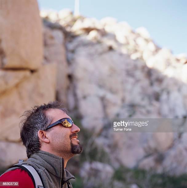 Profile of man wearing sunglasses