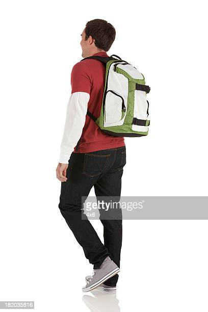 Profil von einem Mann mit einem Rucksack
