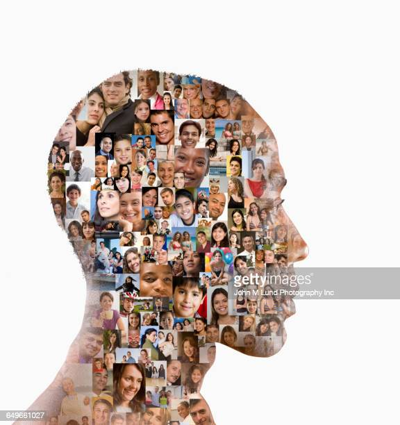 profile of man with collage of faces - multiculturalism stock pictures, royalty-free photos & images