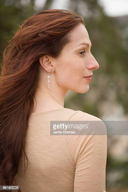 Profile of mid-adult woman