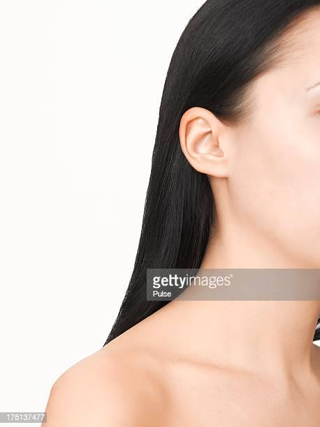 Profile of naked young woman