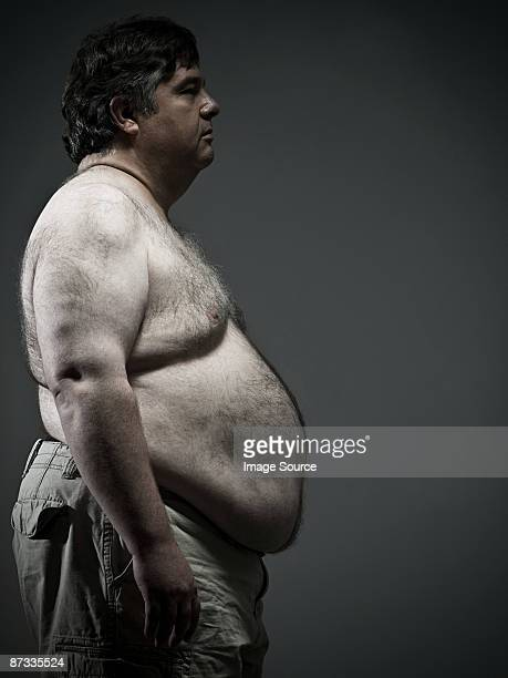 Profile of overweight man