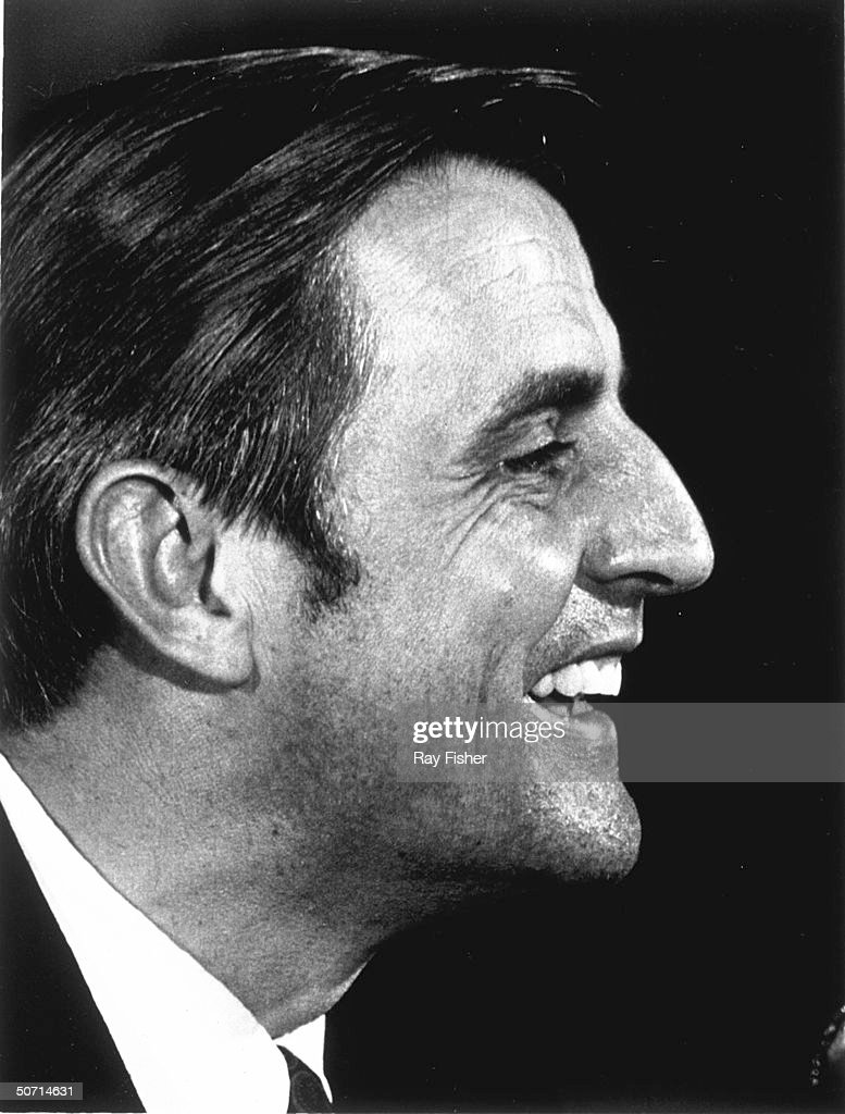 Profile of Sen. Walter F. Mondale smiling during an interview.