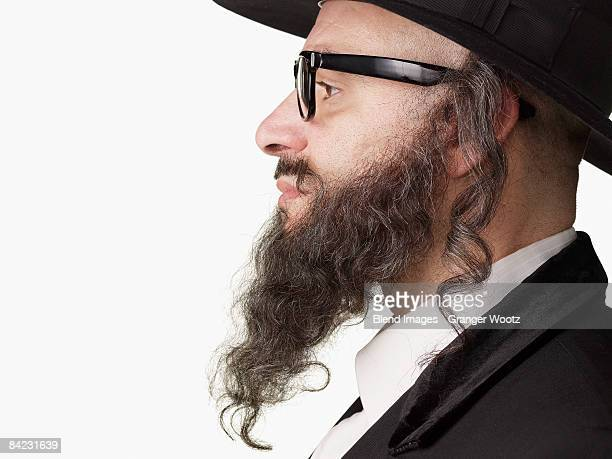 Profile of serious Jewish rabbi