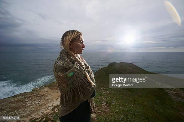 Profile of woman on Atlantic coast.
