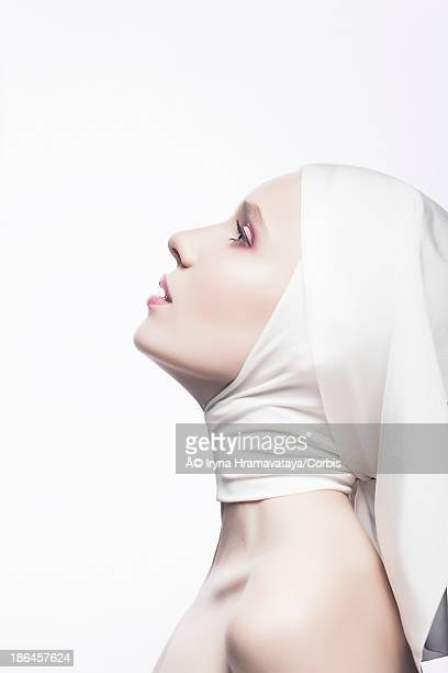 Profile of woman wearing religious veil