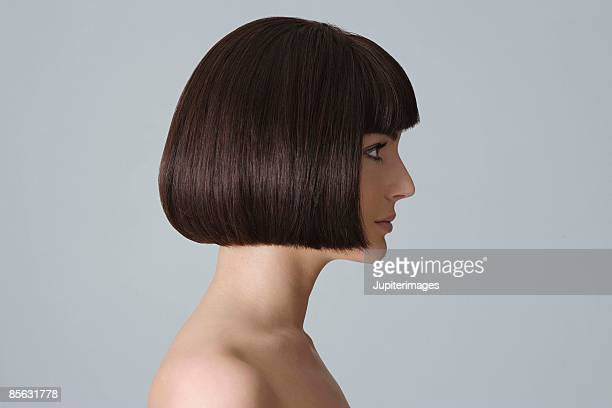 Profile of woman with bare shoulders