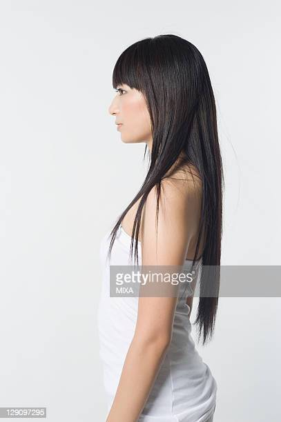 Profile of Woman with Long Black Hair