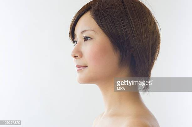 Profile of Young Woman with Short Hair