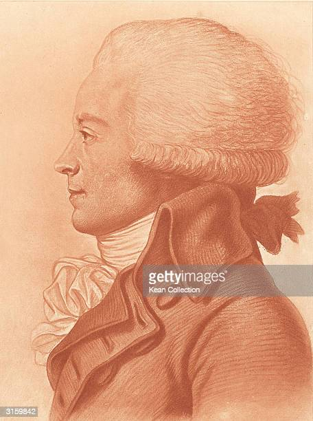 Profile portrait drawing of French revolutionary leader Maximilien Francois Marie Isidore de Robespierre