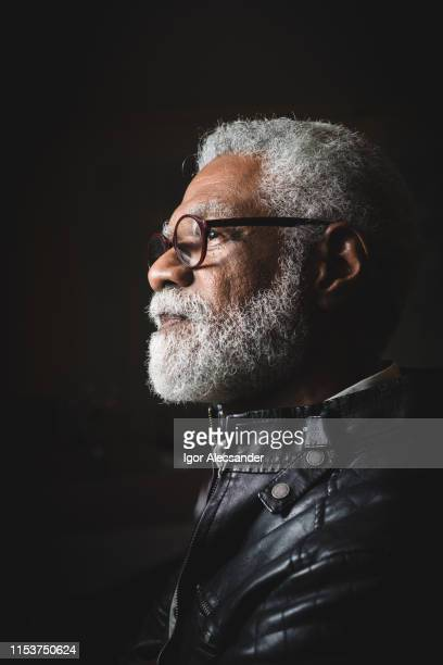 profile portrait of a senior man with white beard - profile stock pictures, royalty-free photos & images