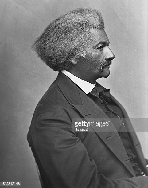 A profile portrait of abolitionist and writer Frederick Douglass circa 187075