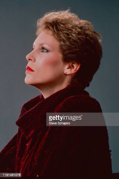 Profile portrait of American actress Jamie Lee Curtis in a sweater Los Angeles California 1983