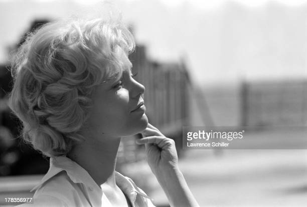 Profile portrait of American actress Tuesday Weld during the production of her film 'Soldier in the Rain' Fort Ord California 1963