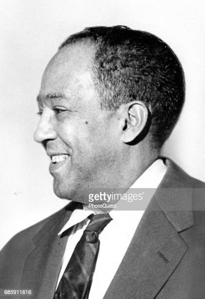 Profile portrait of American author, activist, and journalist Langston Hughes as he laughs, New York, New York, March 2, 1959.