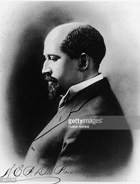 Profile portrait of Americanborn author educator and activist W E B Du Bois 1910s His signature can be see in the lower left