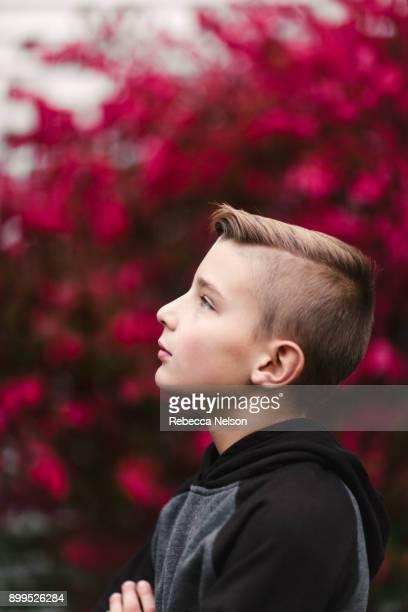 Profile portrait of boy looking away