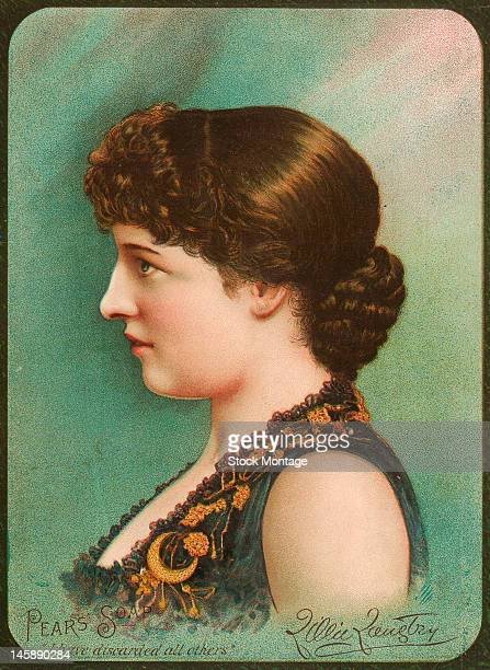 Profile portrait of British actress Lillie Langtry on a trade card that advertises Pears brand soap late 19th century